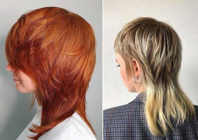 Shoulder-length mullet haircut