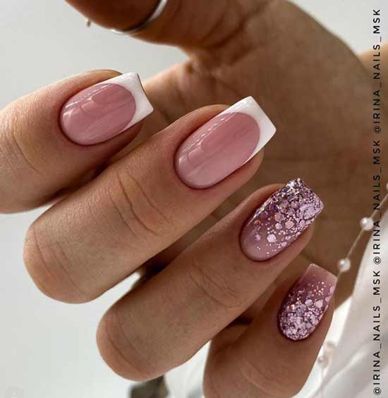 White French with glitter