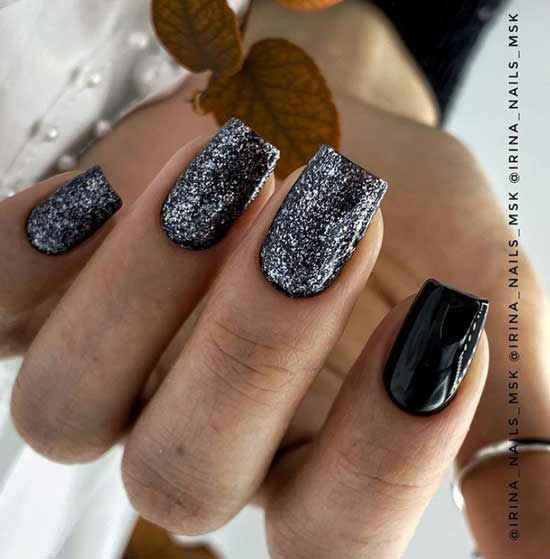 Black with silver sequins