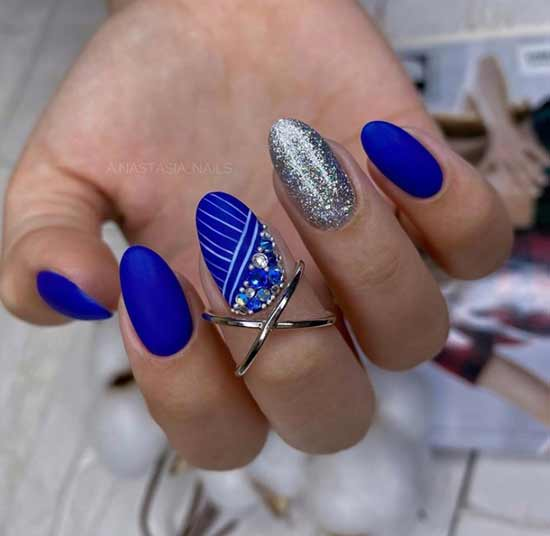 Blue with silver and rhinestones