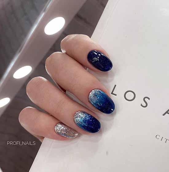 Blue glitter manicure