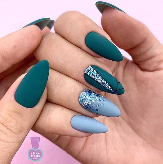Green glitter nail designs