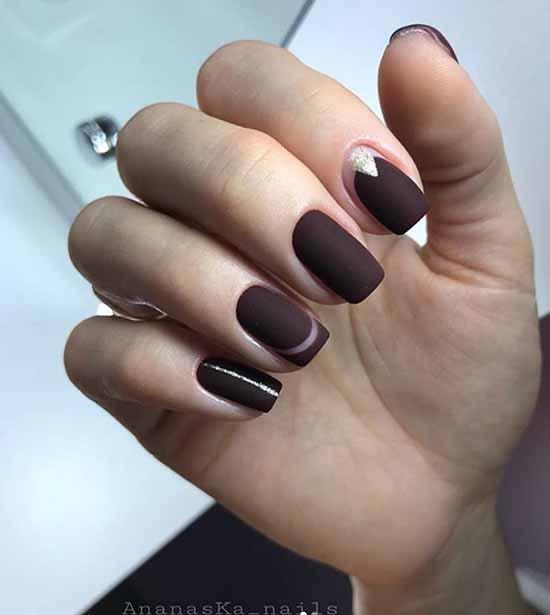 Brown glitter manicure