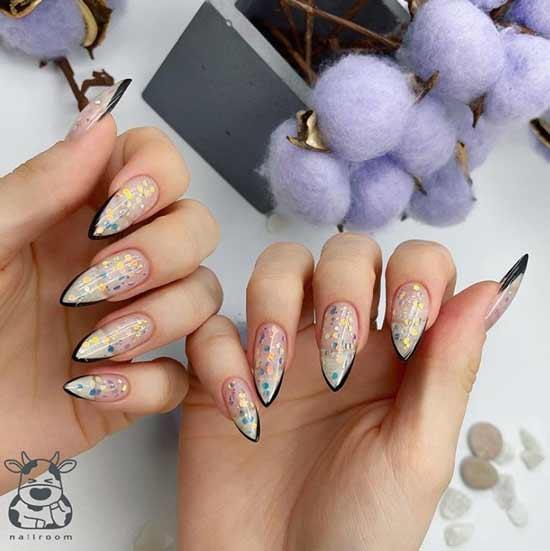 Black and transparent glitter manicure