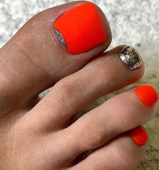 Bright glitter pedicure