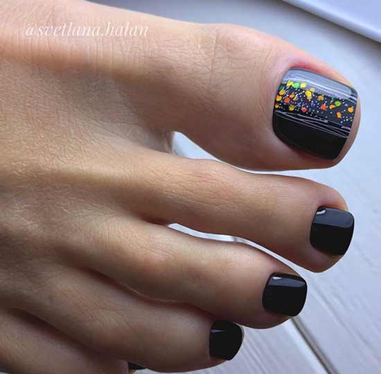 Black glitter pedicure