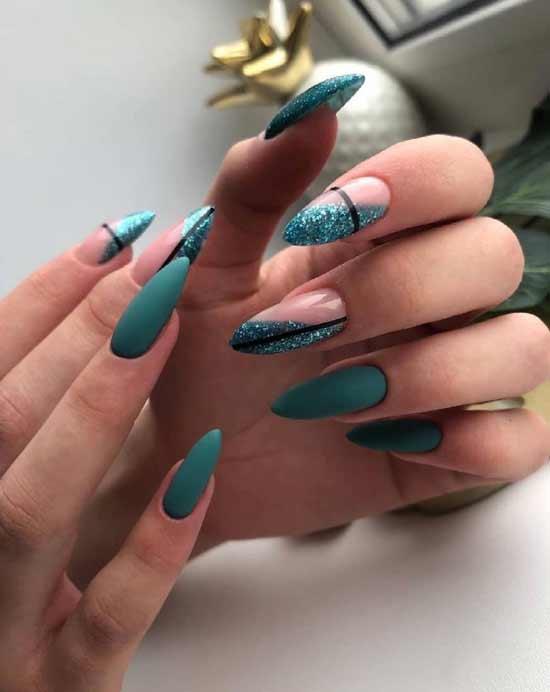Green glitter manicure