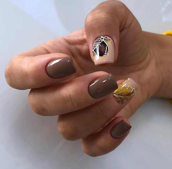 Autumn brown manicure