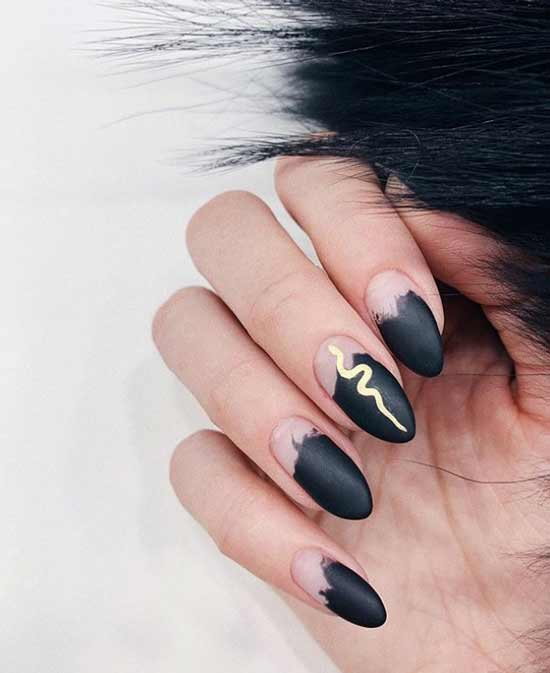 Black manicure with a snake