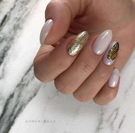 Autumn gilding nail design