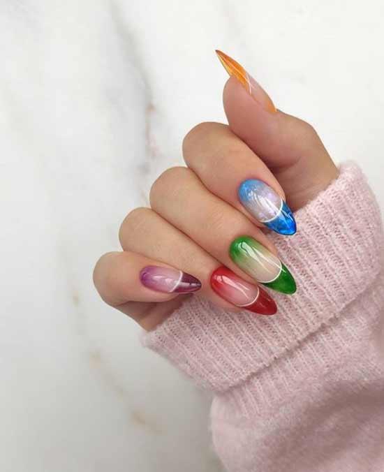 Autumn multicolored nail designs