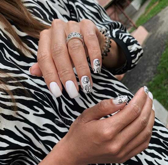 White manicure graphic drawings