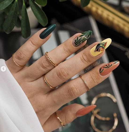 Autumn multicolored nail design