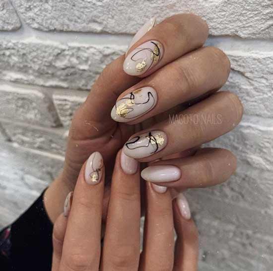 Foil nail applique design fall