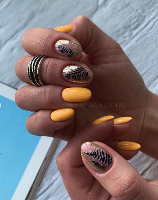 Gold leaf nail design