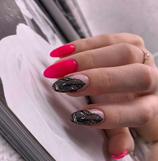 Red almond-shaped manicure autumn