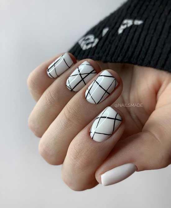 White checkered manicure