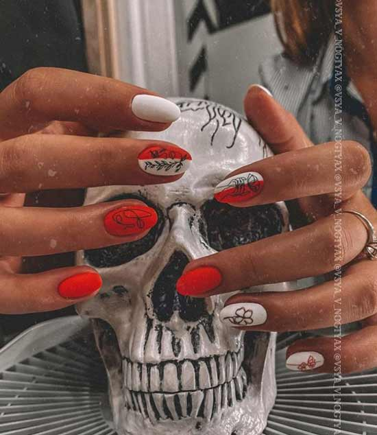 Red and white nail design fall
