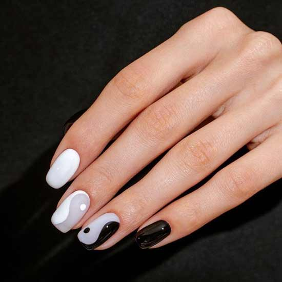 Black and gray with white nail designs