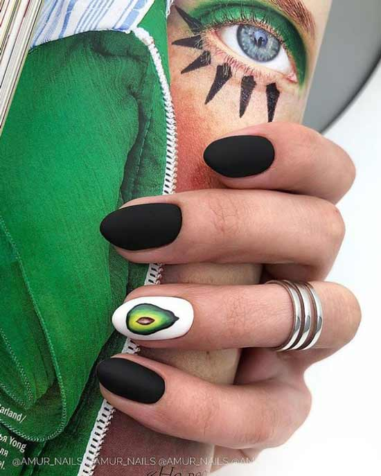 Black nail design with pattern