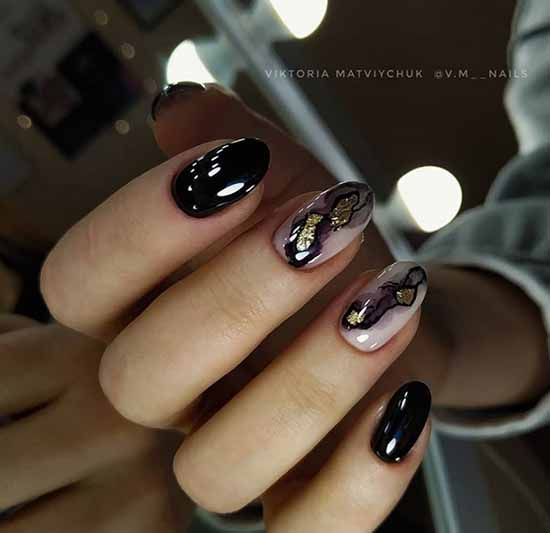 Black with textures manicure
