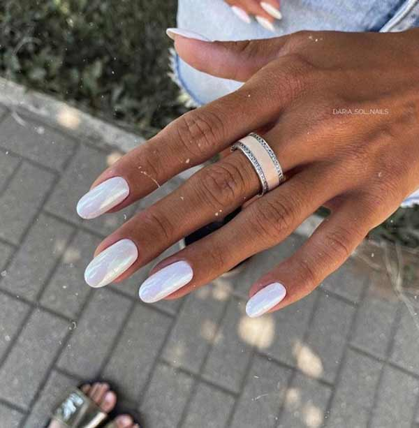 White manicure with rub