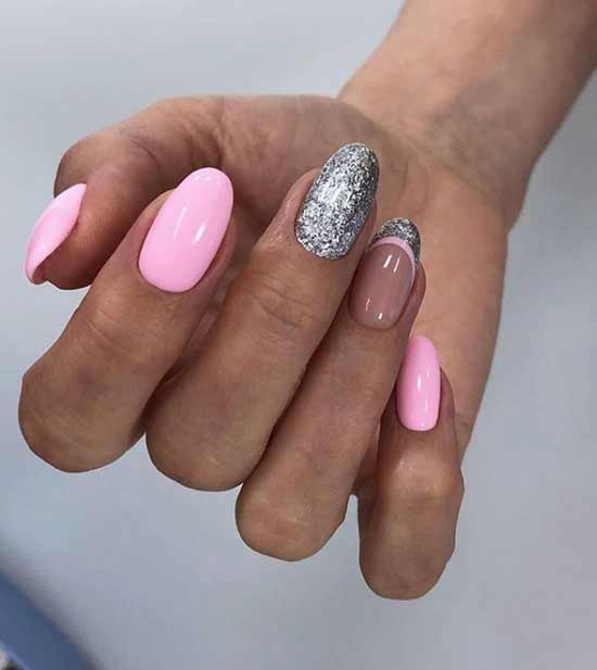 Pink manicure for tanned hands