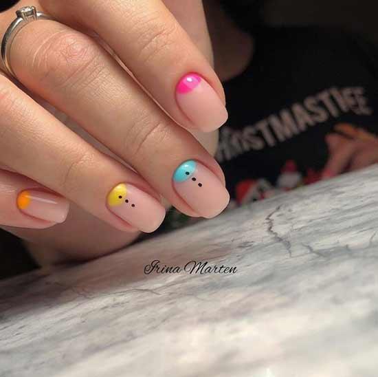 Multicolored moon manicure