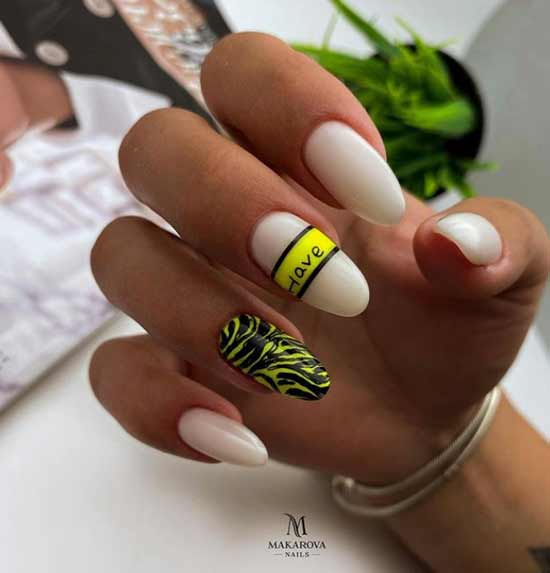 Nail design with neon accent
