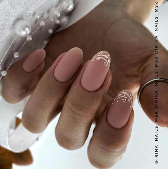 Nude matte manicure