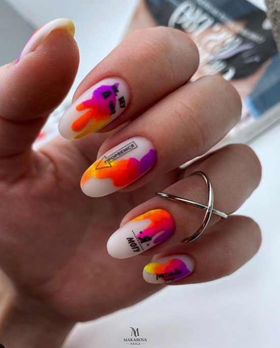 Milky-neon manicure for dark skin of hands