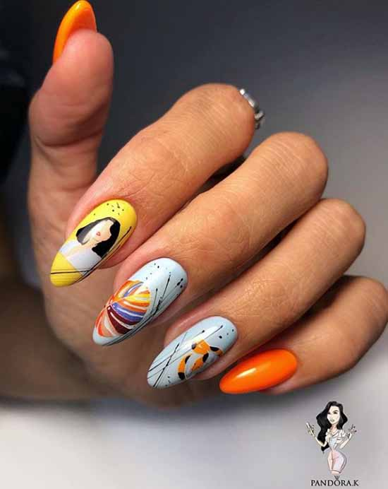 Manicure with stickers on tanned hands