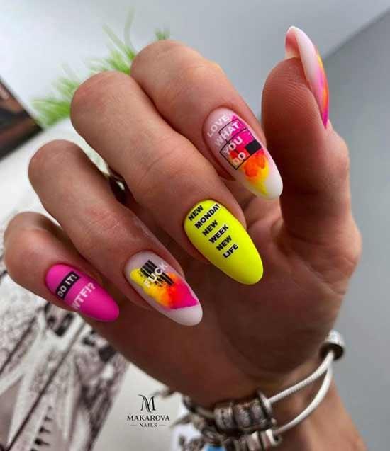 Yellow acid manicure