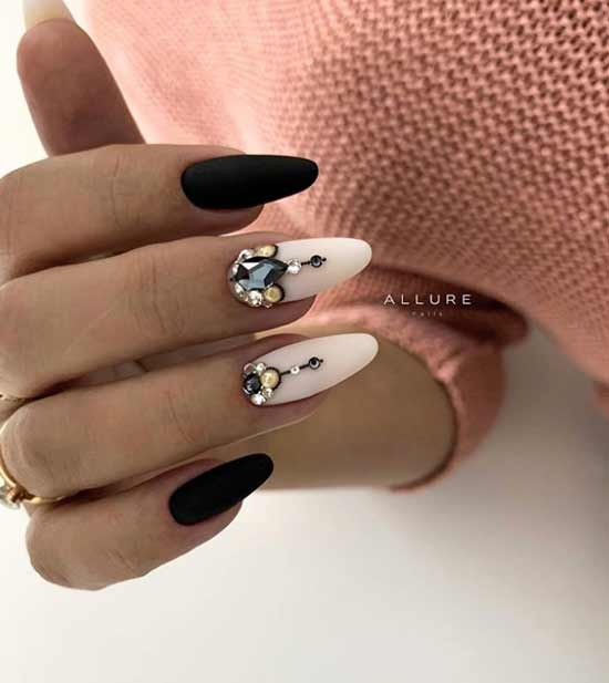 Black and white design with rhinestones