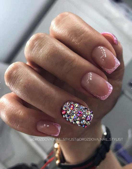 New Year's nail design with rhinestones