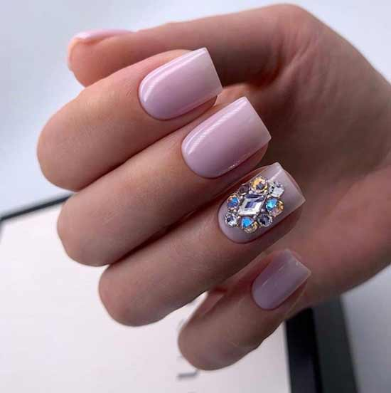 Nude nail design with rhinestones