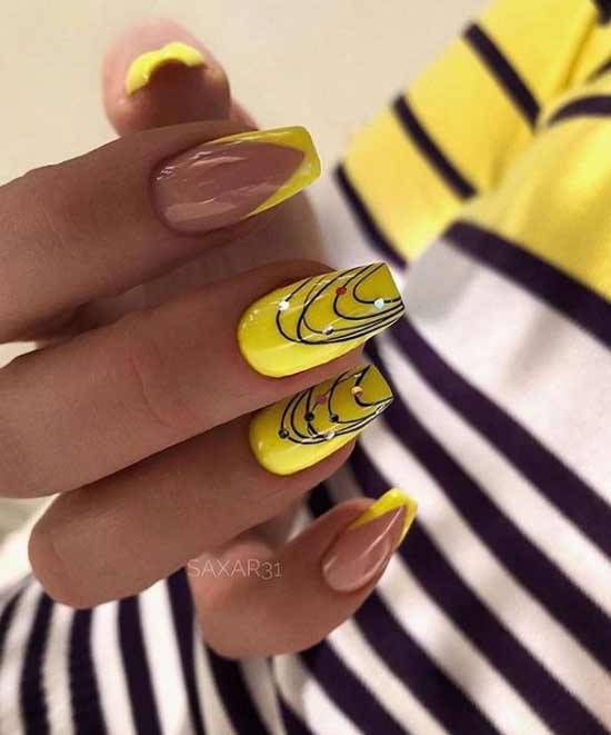 Bright yellow manicure on pointe nails