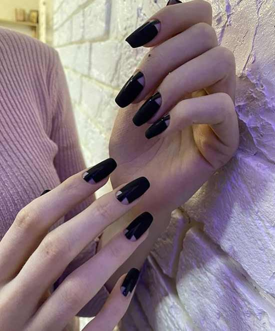 Beautiful manicure holes on ballerina nails