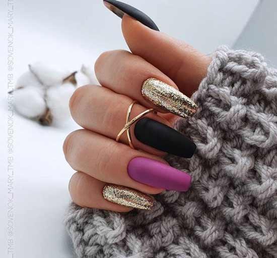 Multicolored manicure on ballerina nails