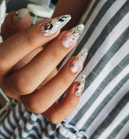 Photo selection of manicure on the form of a ballerina