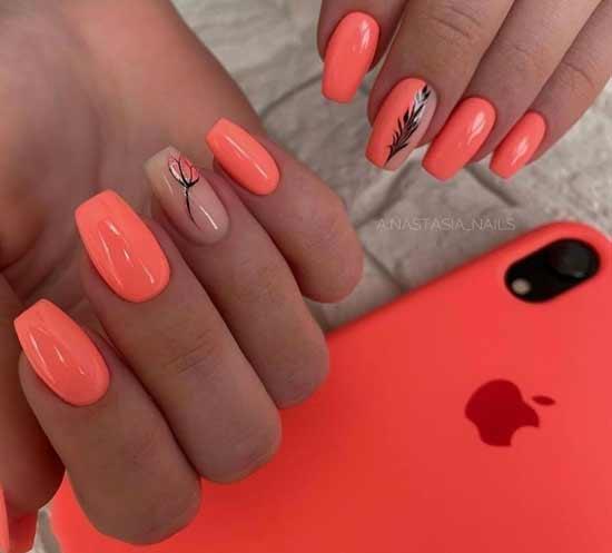 Coral ballerina manicure