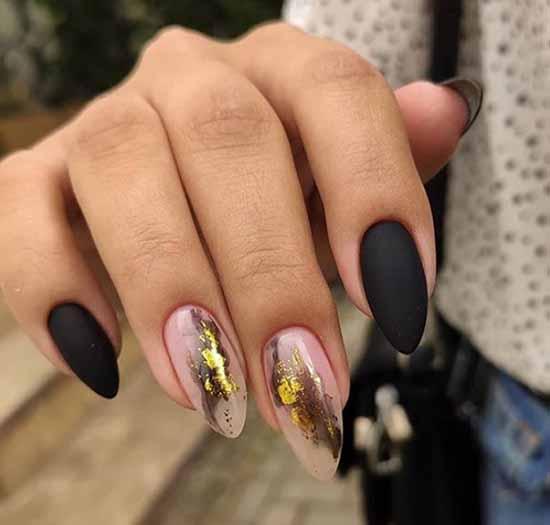 Stylish black manicure for long nails