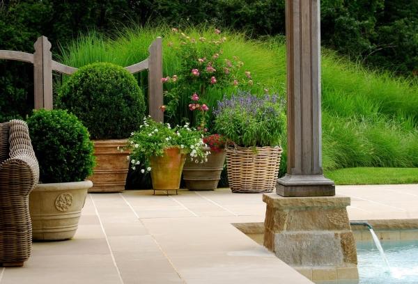 Outdoor flowerpots as an element of garden decor