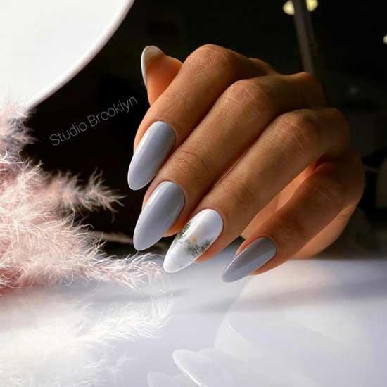 Gray + white elegant manicure