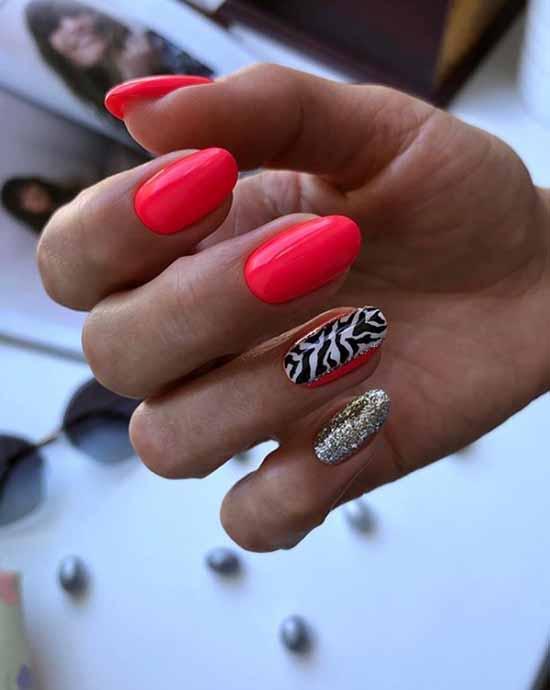 Bright red glitter manicure