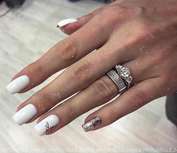 White nails design, photo