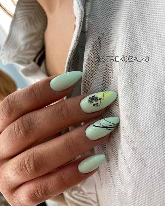 Delicate green manicure