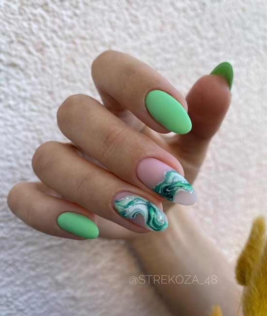 Green light manicure with textures
