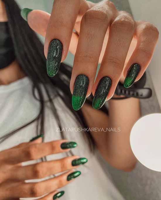 Dark green long nails design