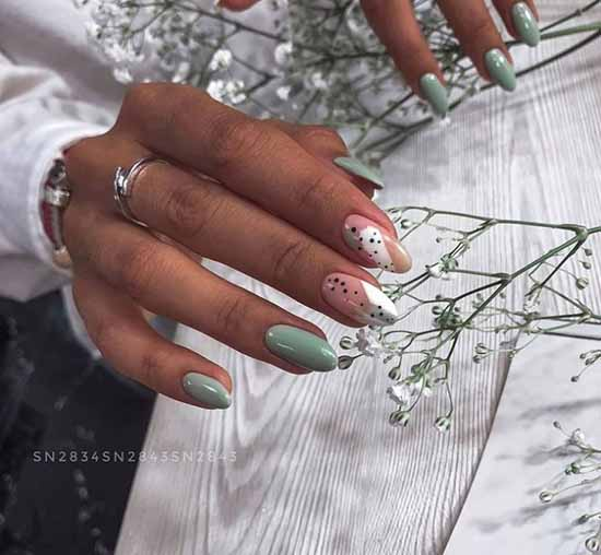 Twig on green nails